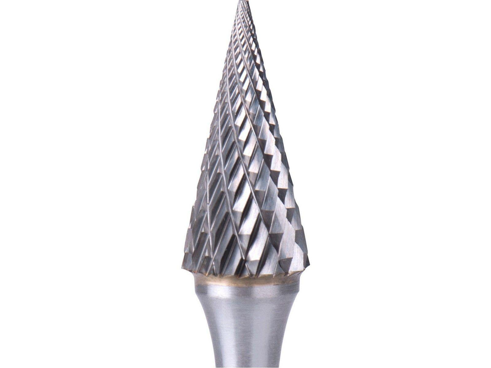 Fréza karbidová, konická jehlan, pr.10x20mm/stopka 6mm,sek střední(double-cut) EXTOL INDUSTRIAL