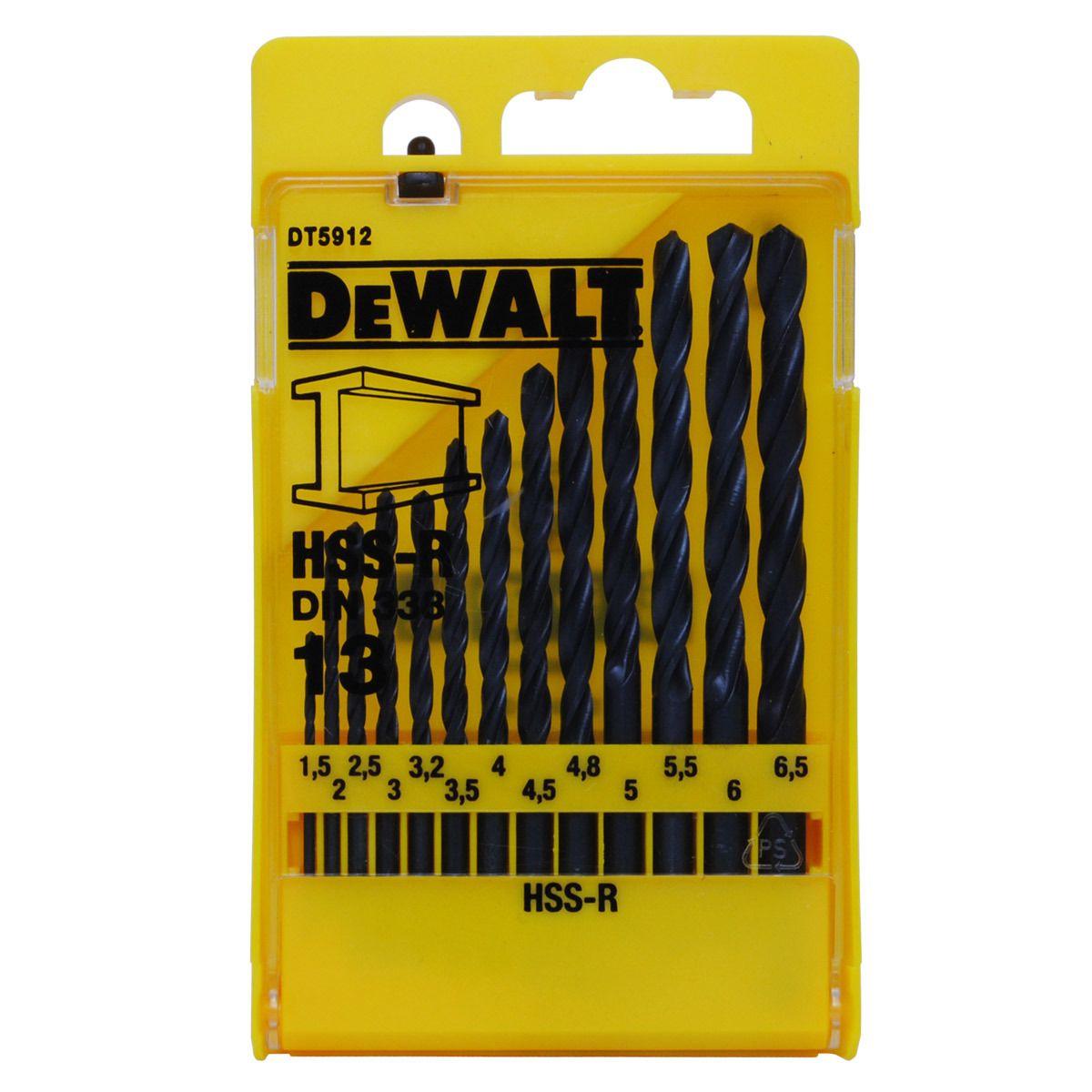 Sada vrtáků do kovu HSS-R DIN 338 DT5912, 13 dílná DEWALT