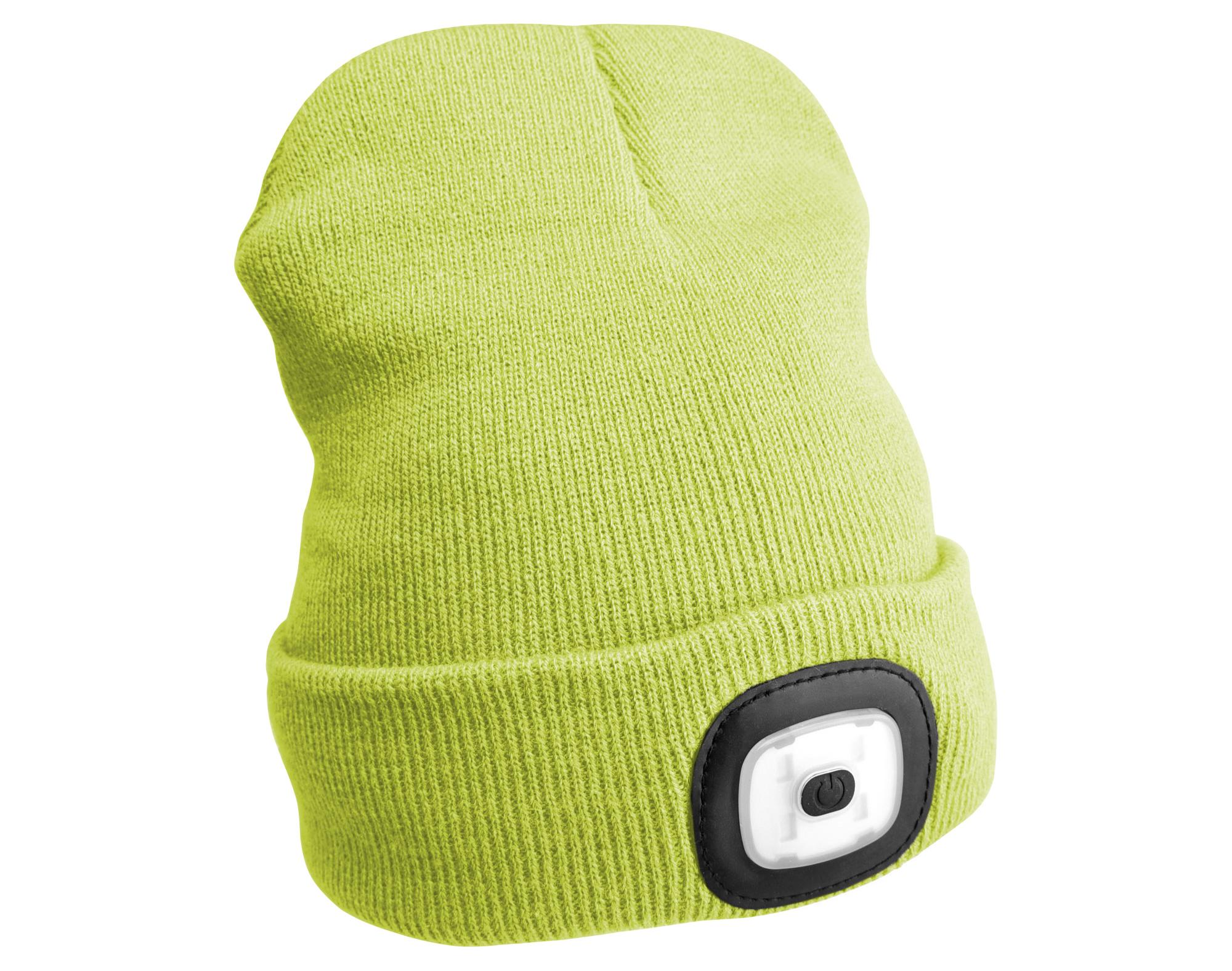 Čepice s čelovkou 45lm, nabíjecí, USB, univerzální velikost, fluorescentní žlutá SIXTOL
