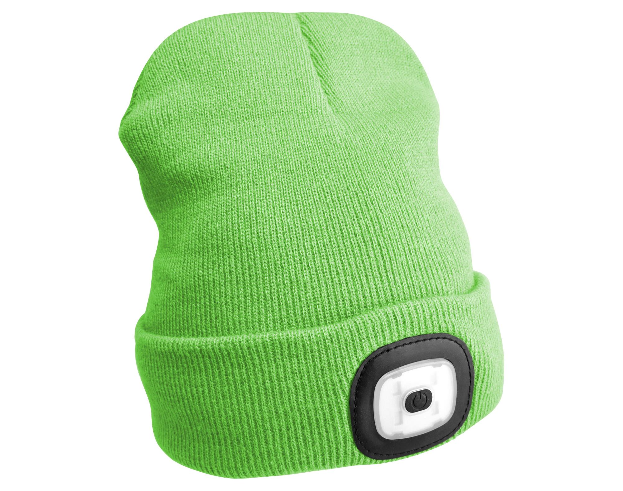 Čepice s čelovkou 45lm, nabíjecí, USB, univerzální velikost, fluorescentní zelená SIXTOL