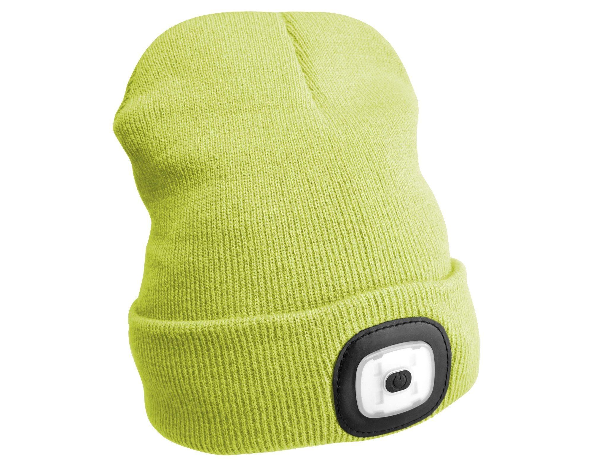 Čepice s čelovkou 180lm, nabíjecí, USB, univerzální velikost, fluorescentní žlutá SIXTOL