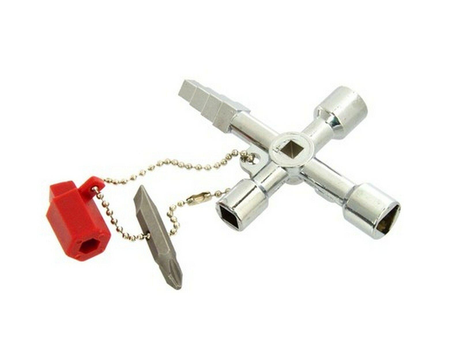 Univerzální klíč na řetízku pro technické skříně, 4 druhy klíčů + bit, GEKO