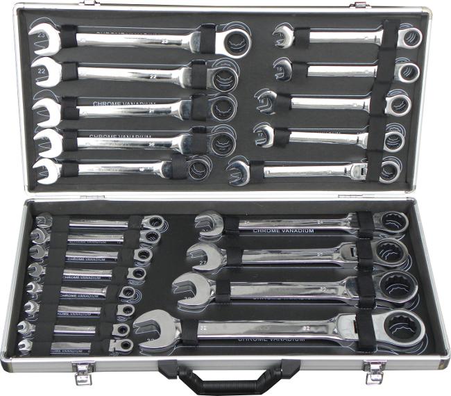 Sada ráčnových klíčů s kloubem, 22ks, 6-32mm, GEKO