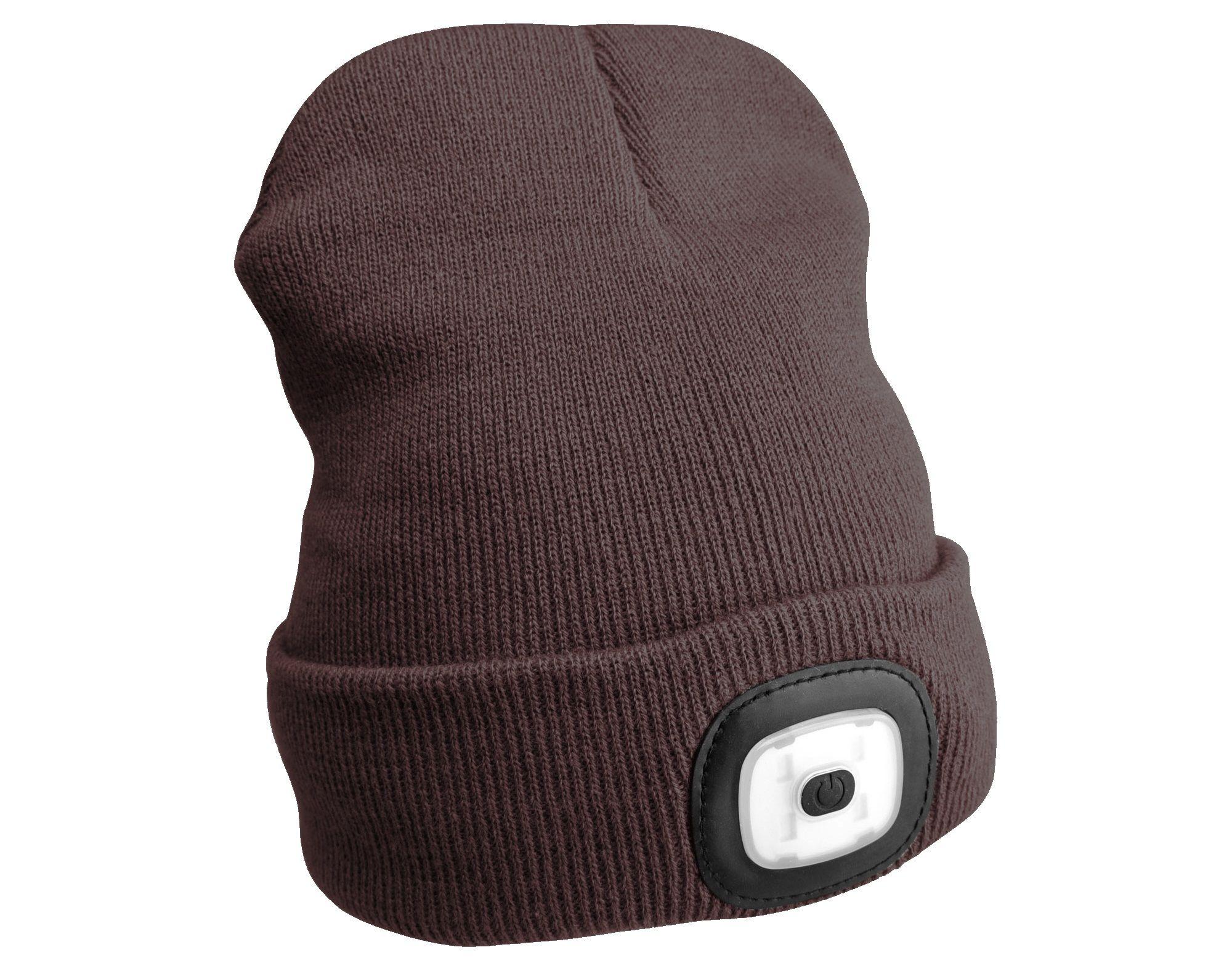 Čepice s čelovkou 180lm, nabíjecí, USB, univerzální velikost, hnědá SIXTOL