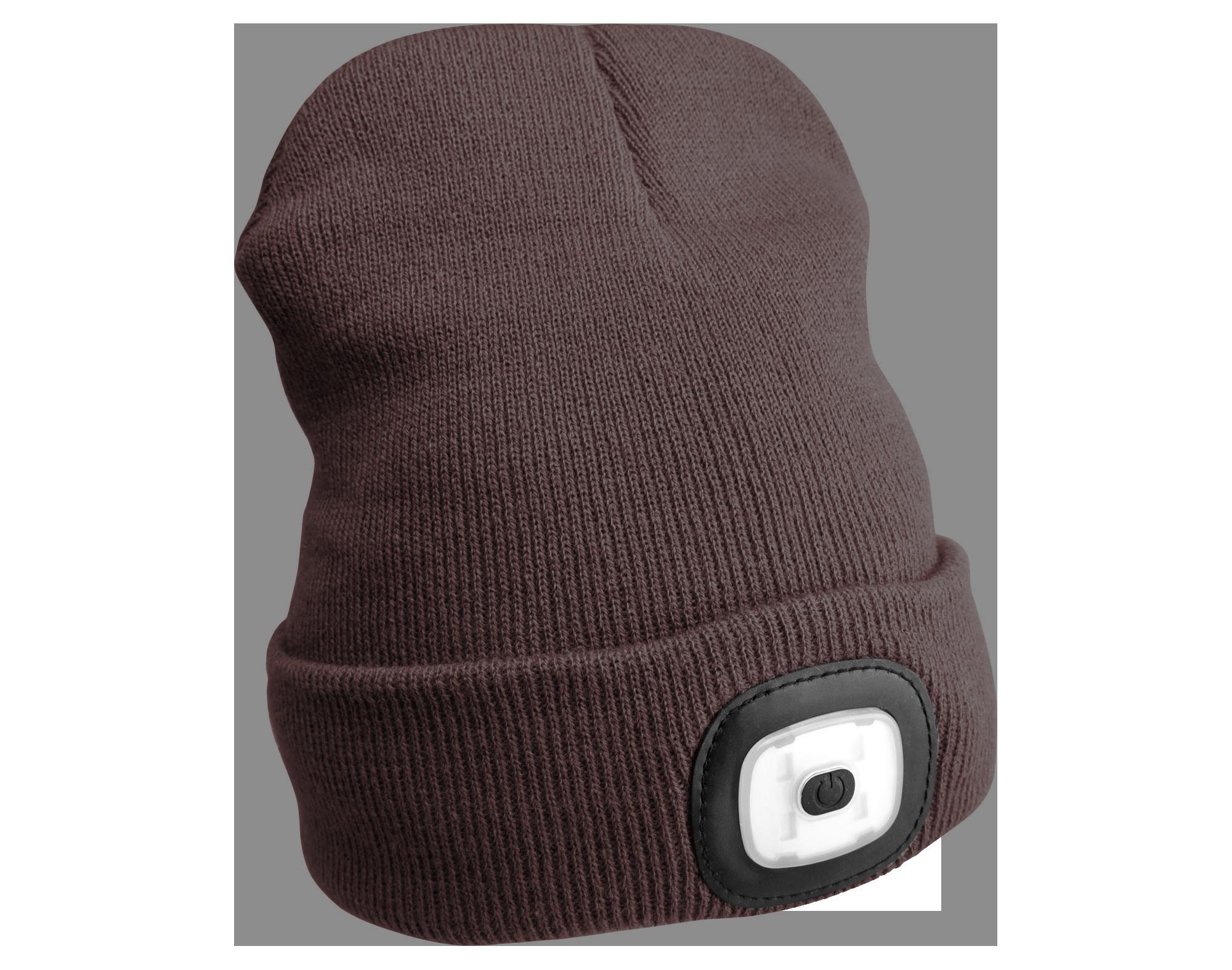 Čepice s čelovkou 45lm, nabíjecí, USB, univerzální velikost, hnědá SIXTOL