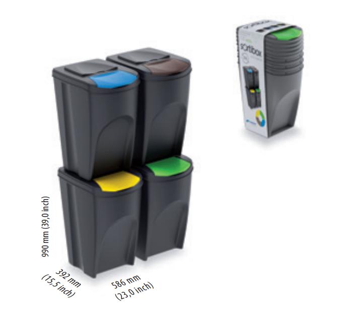 Sada 4 odpadkových košů SORTIBOX ANTRACIT 392x293x680 PROSPERPLAST