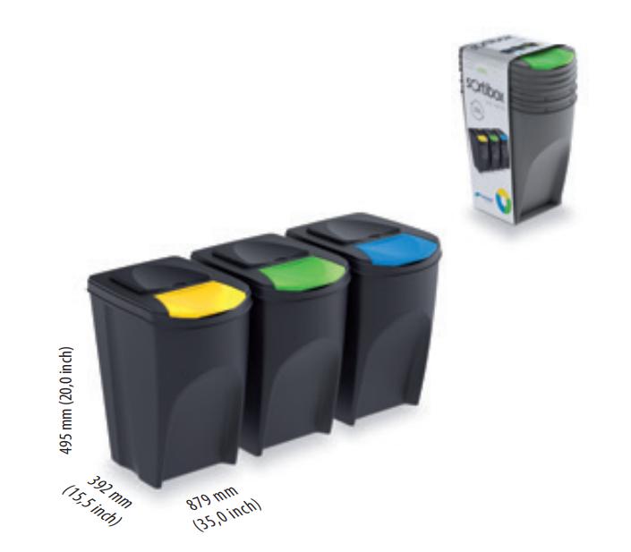 Sada 3 odpadkových košů SORTIBOX ANTRACIT 392x293x620 PROSPERPLAST
