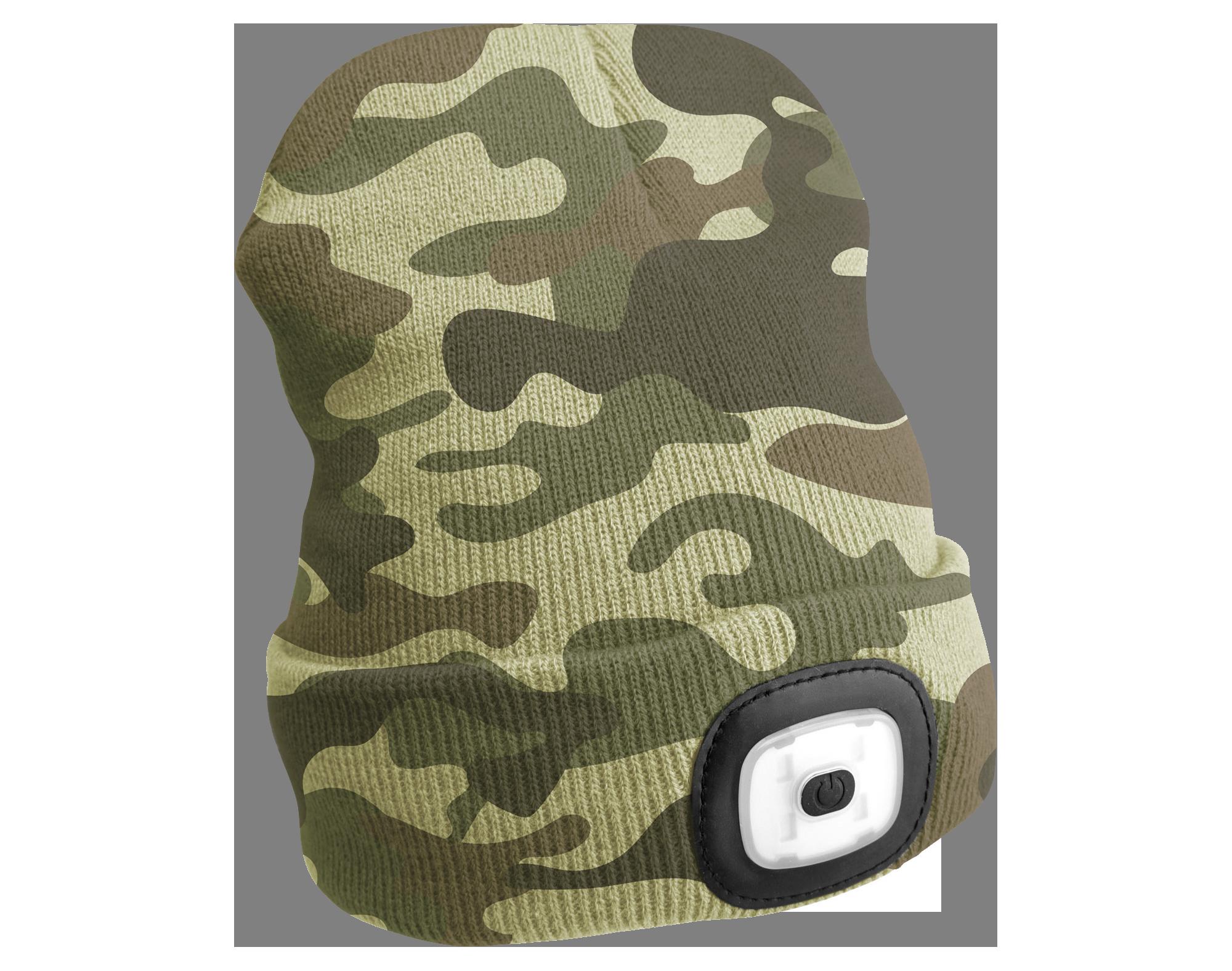Čepice s čelovkou 45lm, nabíjecí, USB, univerzální velikost, maskáčová SIXTOL