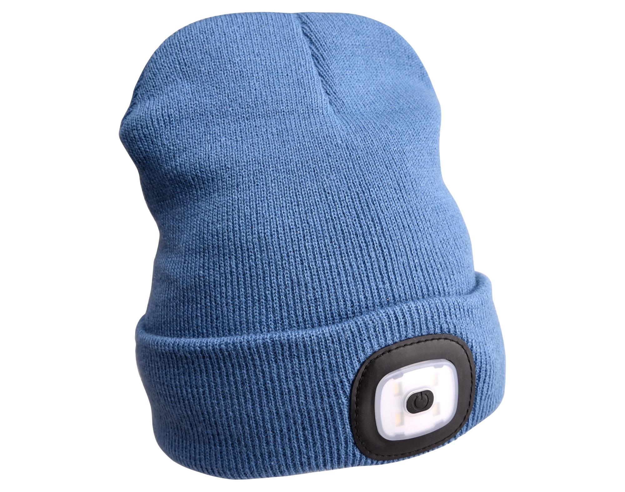 Čepice s čelovkou 45lm, nabíjecí, USB, univerzální velikost, modrá SIXTOL