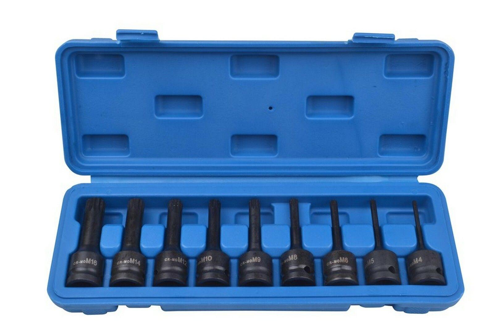 """Sada zástrčných úderových hlavic XZN (Spline), 1/2"""", M4 - M16, 9 kusů QUATROS"""