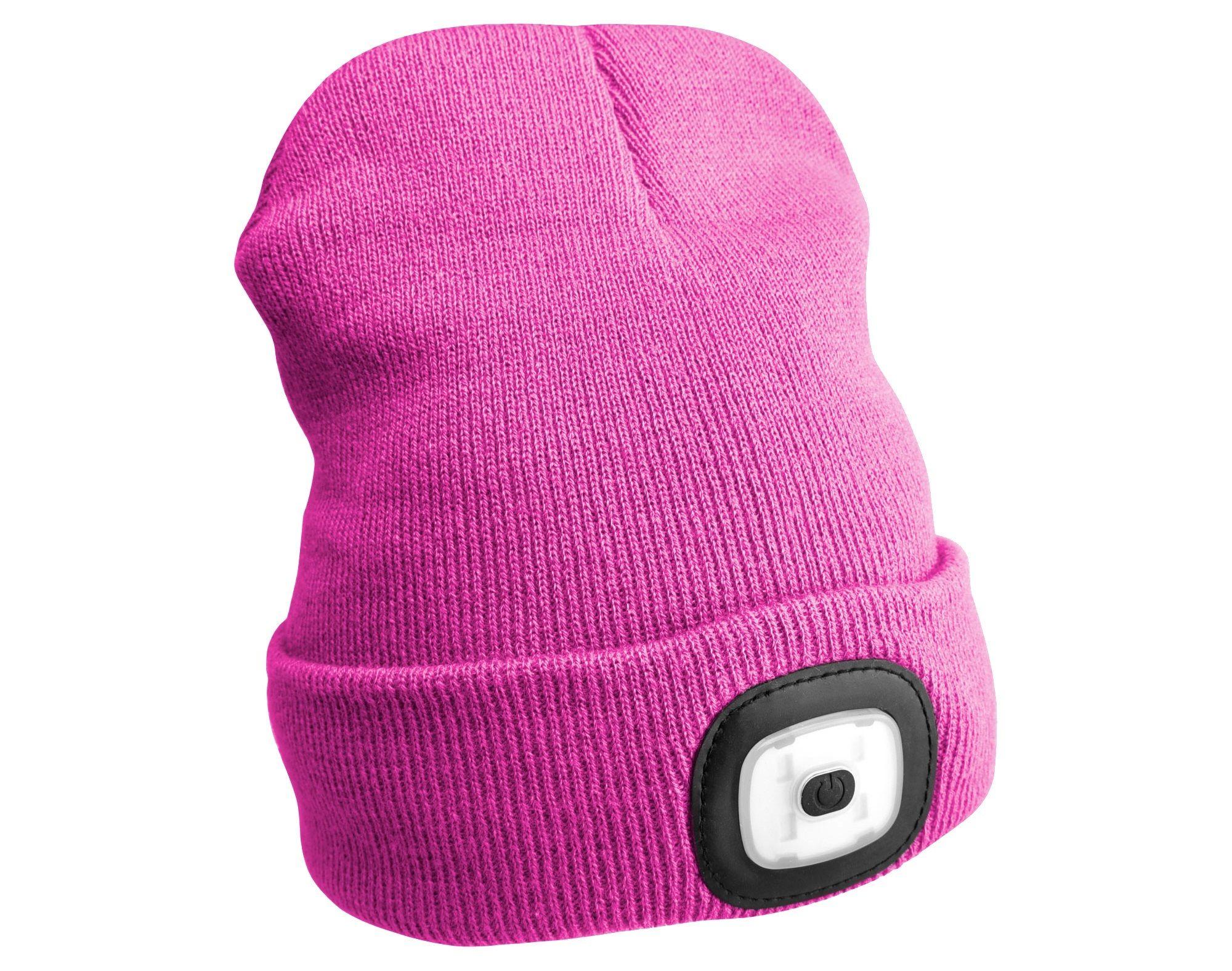 Čepice s čelovkou 180lm, nabíjecí, USB, univerzální velikost, růžová SIXTOL