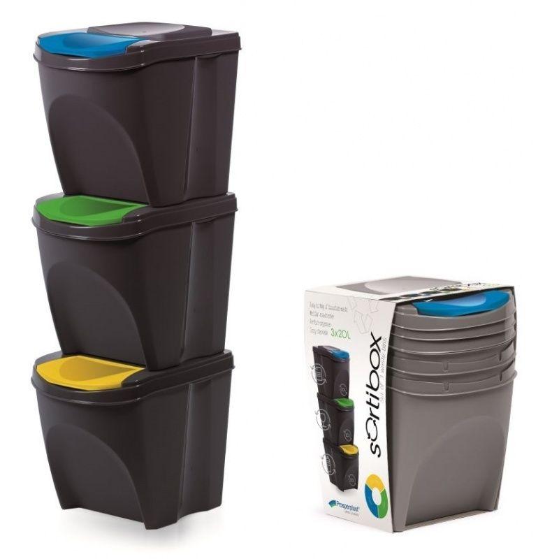 Sada 3 odpadkových košů SORTIBOX ANTRACIT 392X293X456 SADA 3 PROSPERPLAST