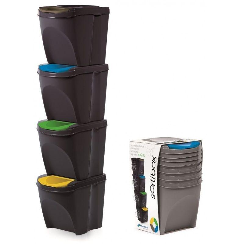 Sada 4 odpadkových košů SORTIBOX ANTRACIT 392X392X518 SADA 4 PROSPERPLAST