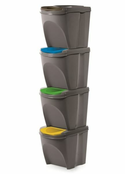 Sada 4 odpadkových košů SORTIBOX šedý kámen 392x293x325 PROSPERPLAST