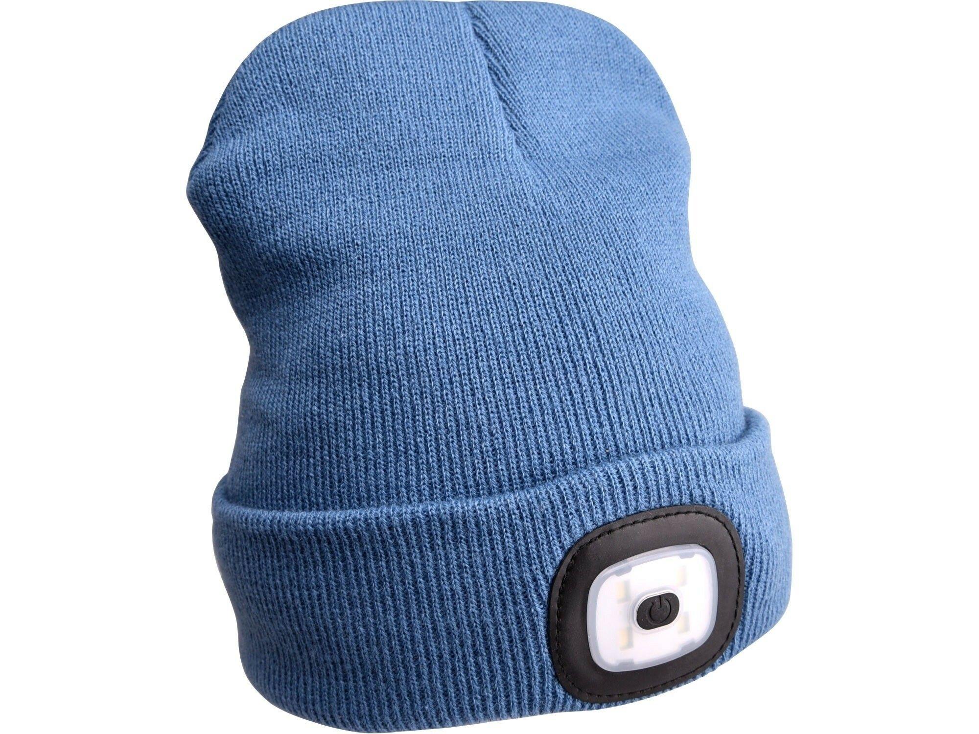 Čepice s čelovkou 180lm, nabíjecí, USB, univerzální velikost, modrá SIXTOL