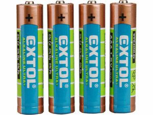 Baterie alkalické ULTRA +, 4ks, 1,5V AAA (LR03) EXTOL LIGHT