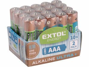 Baterie alkalické EXTOL ENERGY ULTRA +, 20ks, 1,5V AA (LR6) EXTOL LIGHT