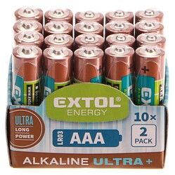 Baterie alkalické EXTOL ENERGY ULTRA +, 20ks, 1,5V AAA (LR03) EXTOL LIGHT