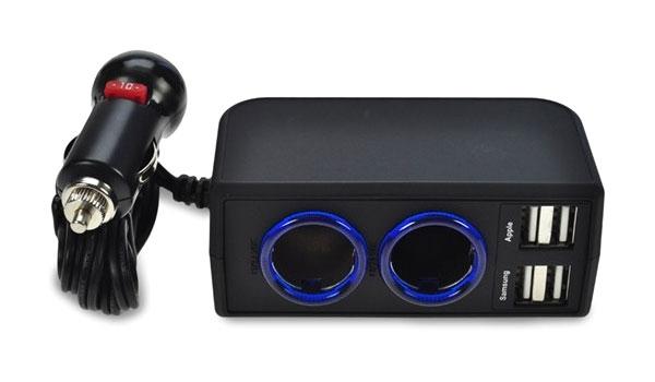USB nabíjecí autoadaptér 4x USB, 6000mA max., DC 12/24V, černý SOLIGHT DC32