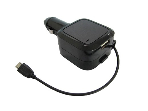 USB nabíjecí autoadaptér, navíjecí kabel micro USB + 1x USB, 3500mA max., DC 12-24V, če...