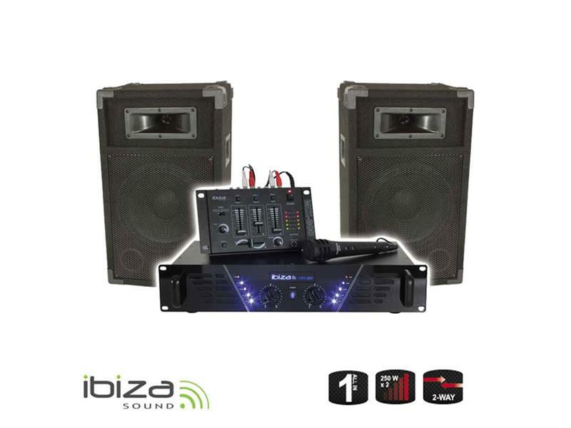 DJ PA set Ibiza DJ300 - zesilovač, mix, reproduktory