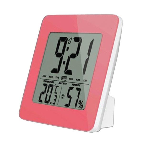 Teploměr TE12P teplota, vlhkost, budík, LCD displej, růžový rámeček SOLIGHT