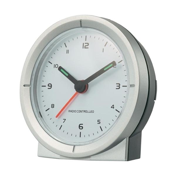 Analogový DCF budík Renkforce, RC156X, 30 x 78 x 80 mm, stříbrná