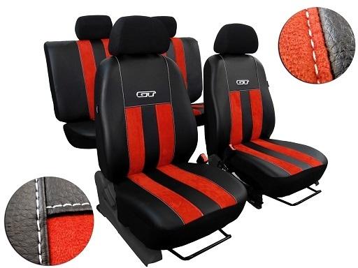 Autopotahy Volkswagen VW Crafter,3 místa, stolek, GT kožené s alcantarou, cihlové SIXTOL